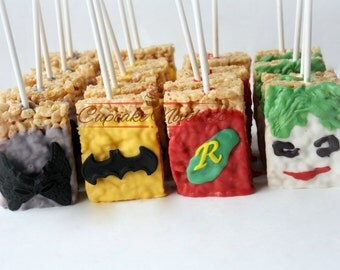 Batman Birthday Super Hero Birthday Superhero Birthday Batman Party Favors Batman Rice Krispie Treats Batman Robin Joker Catwoman DC Comics