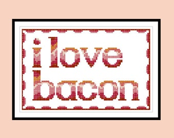 Cross Stitch Pattern I Love Bacon Original Gift For Him Gift For Her Counted Cross Stitch PDF Pattern Instant Download