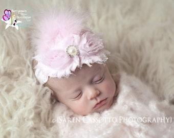 Light Pink Shabby Flower Pearl Rhinestone Feather Headband, Vintage Headband, Newborn Headband, Wedding - SB-005b
