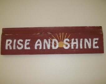 Rise and Shine Rustic Barn Wood Kitchen Sign
