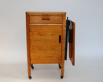 1916 Antique Hill-Rom Medical Rolling Industrial Cabinet Fold away counter top