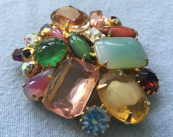 Vintage Pin with Multi-color Rhinestones/Cabochons, Unsigned
