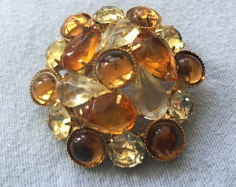 Vintage Brooch Pin with Yellow and Brown Rhinestone/Cabochons