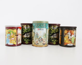Vintage French Cacao Tins Lot of 5 Metal Can With Lid Legal Van Houten Poulain Advertising Tin Canister Cacao Can