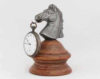 1930s Vintage French Horse Head Statue Pocket Watch Holder Art Deco Pocket Watch Stand