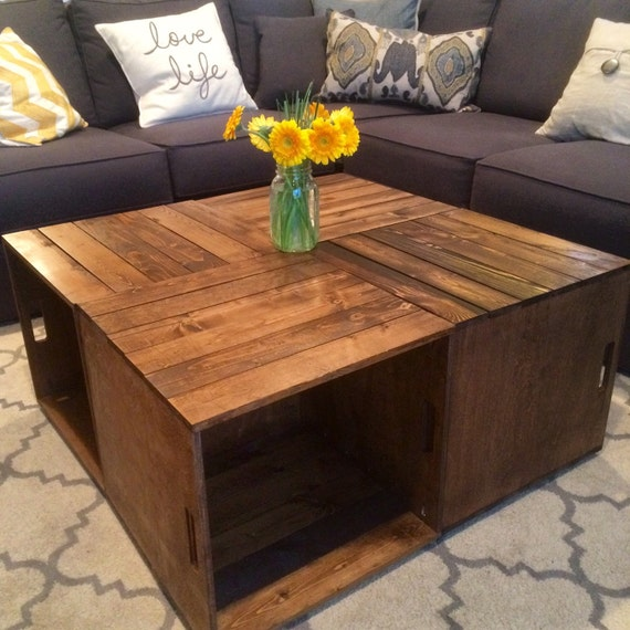 Wine crate coffee table for Vintage wine crate coffee table