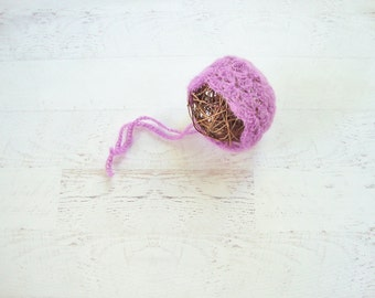 RTS - Newborn Purple Mohair Bonnet Baby Girl Photo Prop  - Ready to Ship