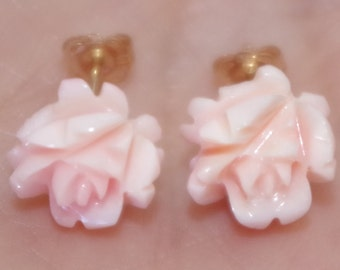 Gem Quality 14K 10MM Carved Rose Flower Soft Pink Angel Skin Coral Stud Earrings