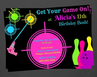 Laser tag, and bowling Party Invitations...  Custom, Personalized DIGITAL FILE