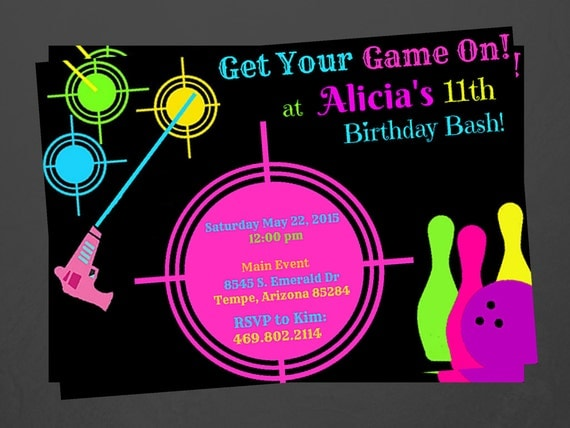 laser tag and bowling party invitations custom, Party invitations
