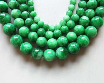 Full Strand 15inches Green Chalcedony Round Beads - A491
