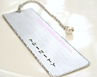 Personalized with your name, hand stamped metal bookmark with Swarovski pearl. Perfect gift for bookworms or to encourage more reading.