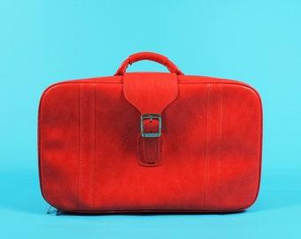 Medium Royal Traveller Sidekicks Samsonite Red Leather Suitcase Luggage Travel Bag