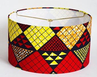 Handmade 13 Inch Drum Lampshade in WAX Fabric