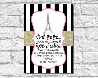 French Invitation, Paris Invitation, Printable Invitation, Digital File