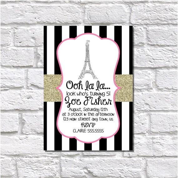 French Invitation Paris Invitation Printable Invitation Digital – Birthday Greetings French
