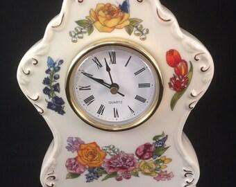 Porcelain Floral Design Quartz Clock, In Working Order, Vintage Porcelain Clock, Quartz Clock