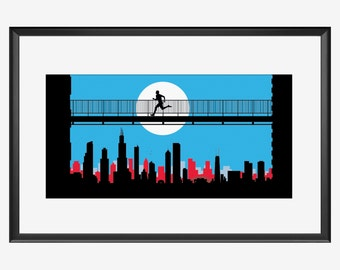 Chicago Skyline, Chicago art, Chicago print, Chicago poster, Chicago Marathon, gifts for runners, Runner print, Runner poster, Runner art