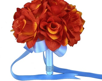 """8"""" Bouquet - Burnt Orange Rose Bouquet *Pick Ribbon Color*"""
