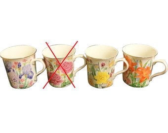 c.1995 Lenox Flower Blossom Collection Signed By Suzanne Clee Set-3 Mugs