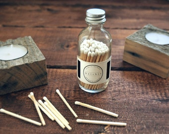 White Round Bottle Matches. Strike on Bottle. White Match Jar. Pair with a Candle. Home Decor. Fancy Jar Matches. Modern Wooden Matchsticks.