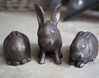 Set of Three Cold Cast Bronze Baby Hare's (Leveret's)