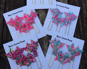 Lilly Pulitzer inspired - Set of 3 Planner Clips / Bookmarks