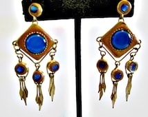 Fantastic Brass and Blue Cabochon Earrings Gypsy Boho 1970's Dangle Hippie Chic Leather