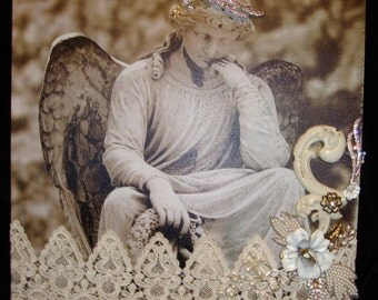SALE! Angel Print Redesigned Re-Art with Lace and Found Objects