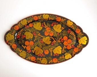 Vintage Khokhloma Russian Folk Art Decorative Lacquer Tray - Large Oval Hand Painted Wood Platter