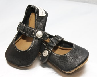 Black Leather Baby Mary Janes - Handmade Black Baby Shoes