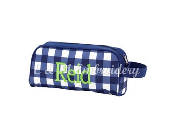 Monogrammed Navy Check Toiletry Bag