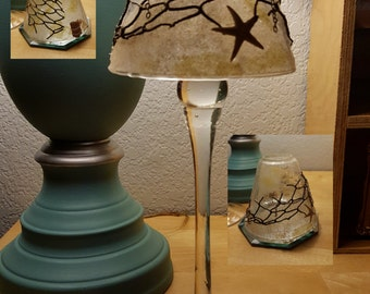"""Gel Candle 12"""" Tall w/ Crackle Glass Shade, Sand, Fishing Net, Starfish & Beach Accents, Scented to your Specs."""