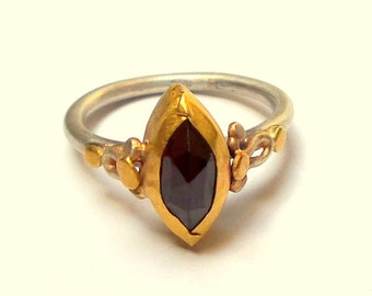SALE - Garnet Marquise Ring - Gold ring - Silver ring - Gold and Sterling Silver Ring -  free shipping!