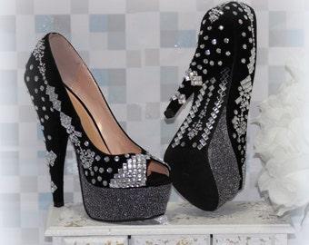 Unfathomable Black Wedding Shoes - Black Shoes - Womens Shoes - Size 7 Shoes - Prom Shoes - Party Shoes - High Heel Shoes - Bridal Shoes
