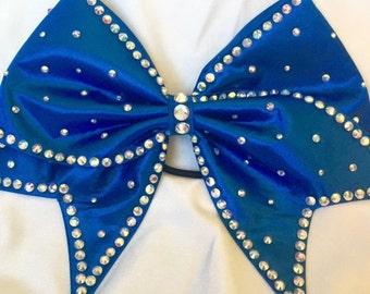 Royal Blue satin bow with AB crystal rhinestones