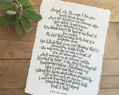 Large Hand-Lettered Custom Quote Calligraphy Quote Custom Quote Custom Lettering Handmade Paper