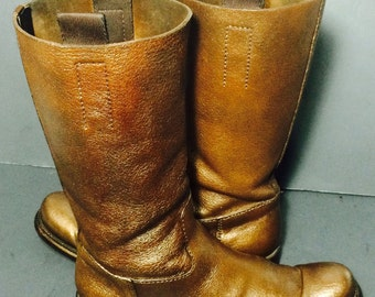 Prada Copper Leather Motorcycle Boots Women's Size 37 Size 6 (Those Boots Have Been Painted In gold By Us)