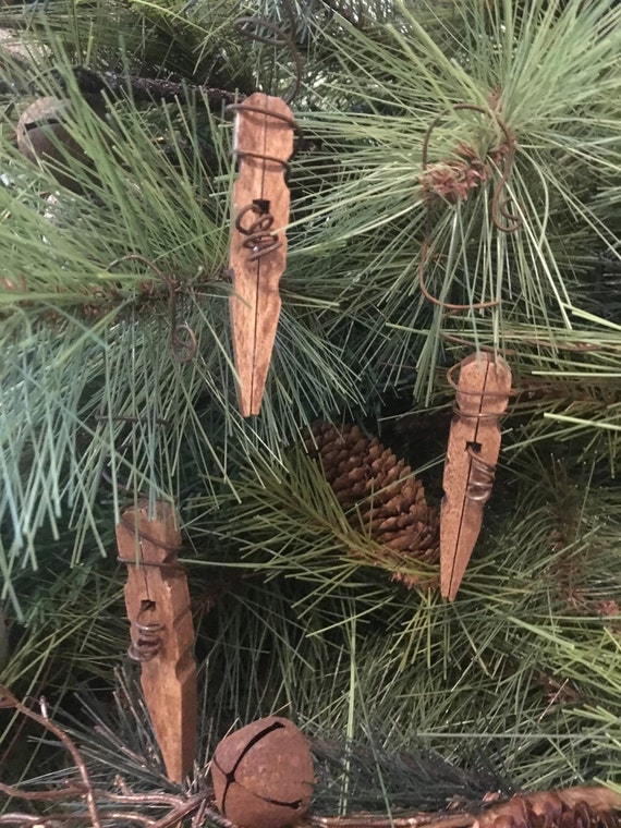 Primitive Christmas Icicle Snowflake Rusty Wire Wood Clothespin Ornament Handmade Set/3