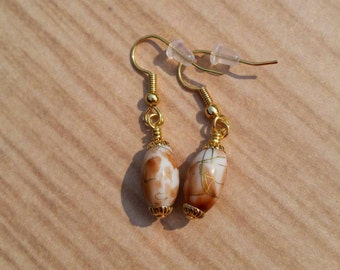 Porcelain look glass beads earrings
