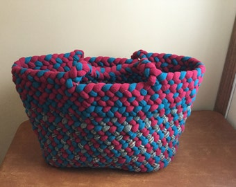 Turquoise,red and pattern totebag
