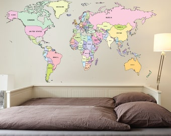 150cm world map decal wall sticker stencil bedroom globe 72ft printed world map wall vinyl self adhesive office travel gumiabroncs Image collections