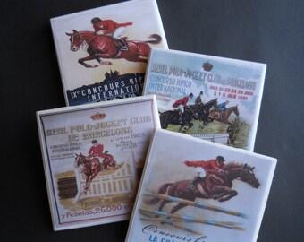 Horses ~ Vintage Horses ~ Hunter Jumper Horses ~ Ceramic Tile Coasters ~ Drink Coasters ~ Horse Lover Gift ~ Horse Decor ~ Horse Coasters