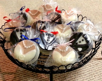 Chocolate Covered Bride and Groom Oreos 12 wedding favors bridal shower favors