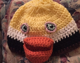 Yellow, White and Brown Crochet Pelican Hat