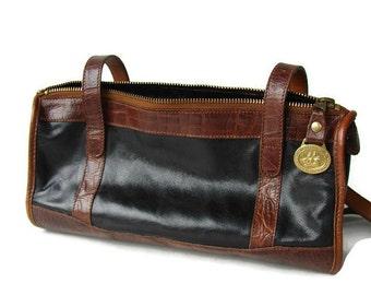 Black brown leather bag. Brahmin shoulder bag. Vintage designer bag.