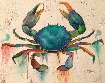 Sea crab watercolor print, bathroom decor, watercolor wallart. Sea crab art.