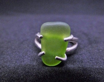 Limeade Sea Glass and Silver Ring - a Caribbean find of spectacular hue set in 925 sterling silver!