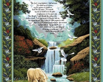 Psalm 23 Cotton Fabric 36X44 Panel #50322 by Springs Creative! [Sold by the Panel]