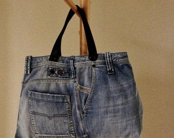 UPCYCLED Jean TOTE  Bag, Blue Jean Bag, Weekend/Travel Bag, Market Bag